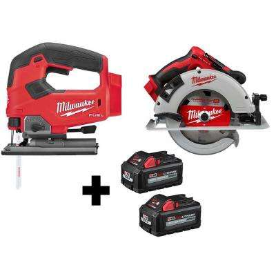 M18 FUEL 18-Volt Lithium-Ion Brushless Cordless Jig Saw and 7-1/4 in. Circular Saw with (2) 6.0Ah Batteries