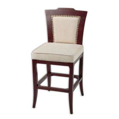 30 in. Springfield Wood Bar Stool with Nailhead Trimmed Oatmeal Upholstered Seat and Merlot Finished Frame