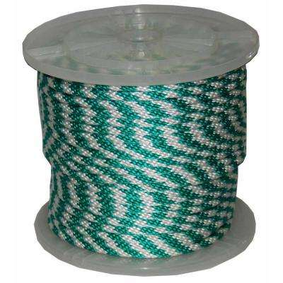 3/8 in. x 300 ft. Solid Braid Multi-Filament Polypropylene Derby Rope in Green and White