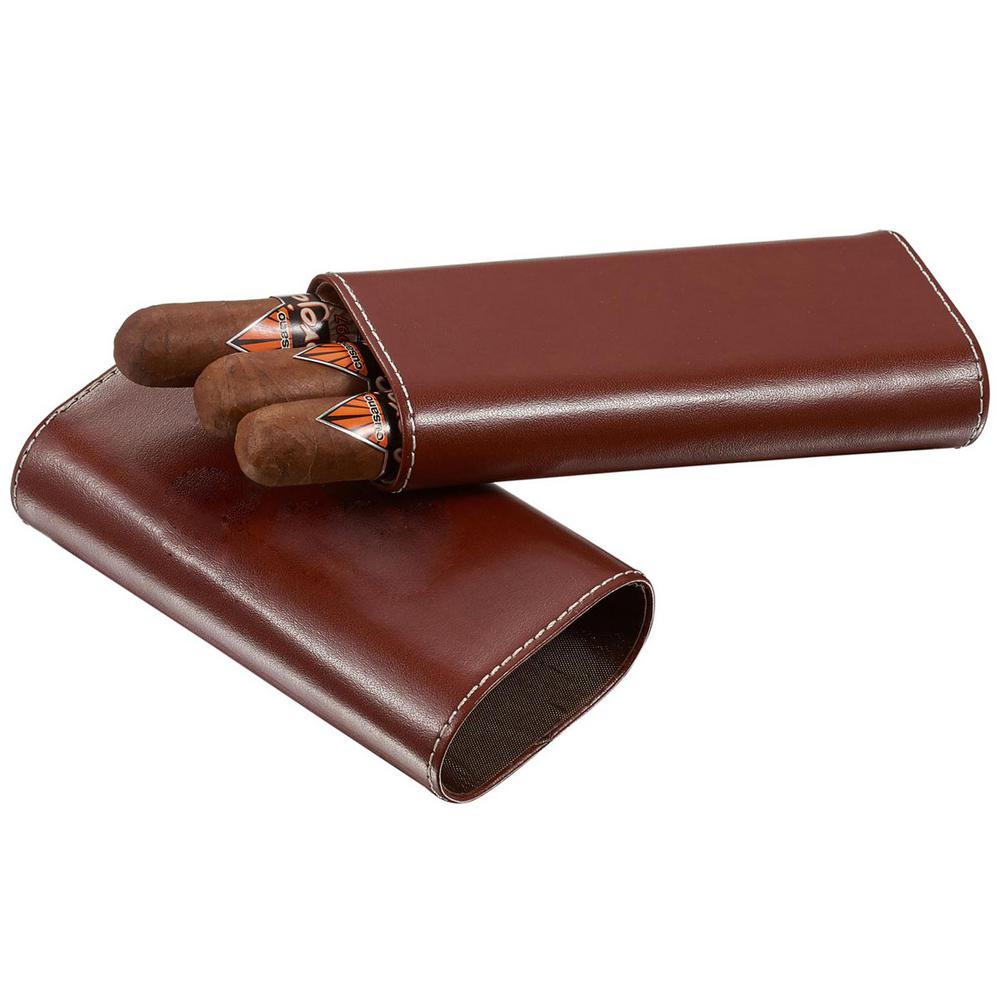 Lone Star Brown Leather Cigar Case with Interior Cedar Lining