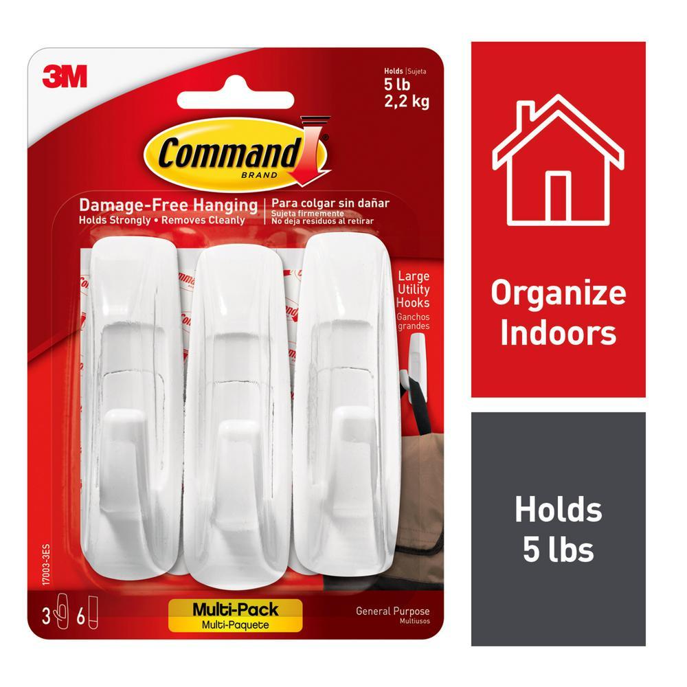 Command Large Utility Hooks Value Pack (3-Hooks, 6-Strips)