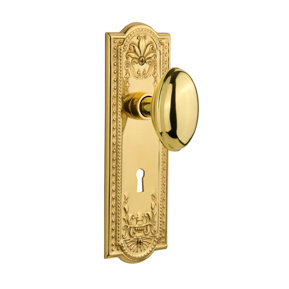 Nostalgic Warehouse Meadows Plate with Keyhole 2-3/8 in. Backset Unlacquered Brass Passage Hall/Closet Homestead Door Knob