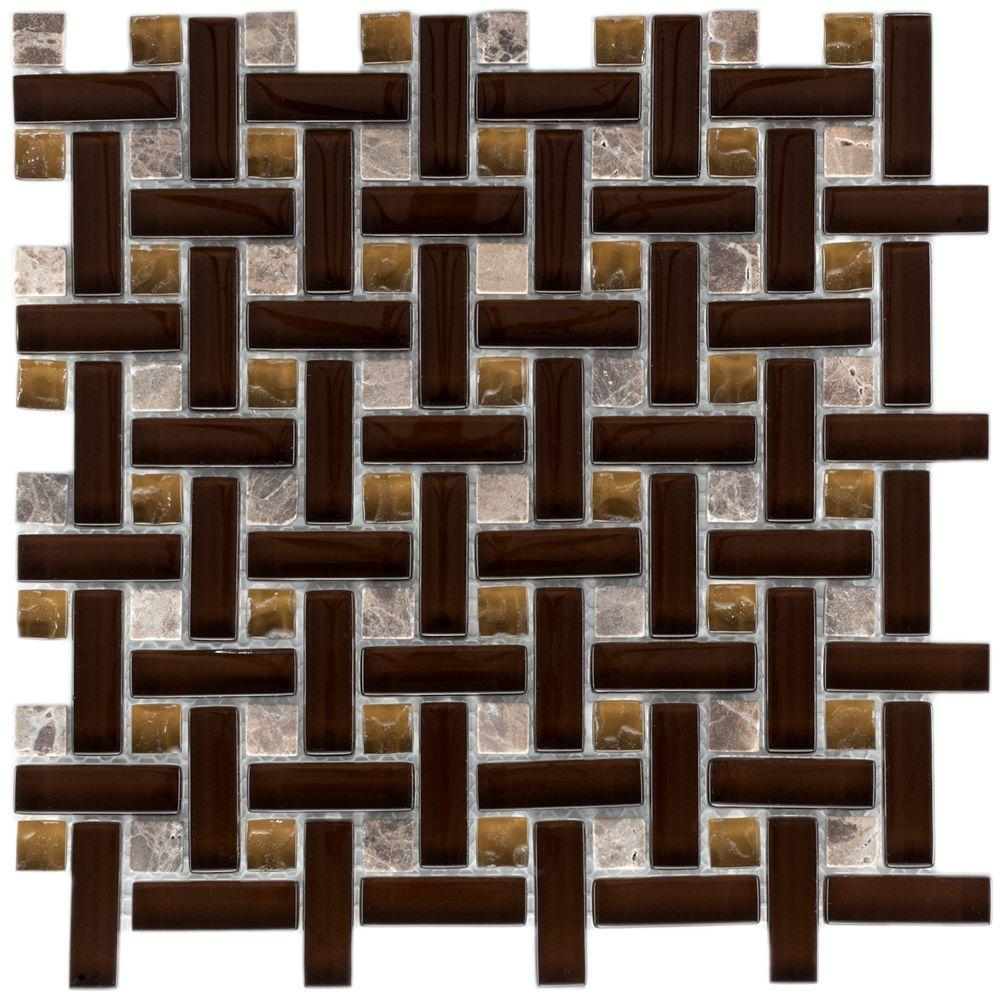Merola Tile Tessera Basketweave Mink 11 in. x 11 in. x 8 mm Glass and Stone Mosaic Wall Tile
