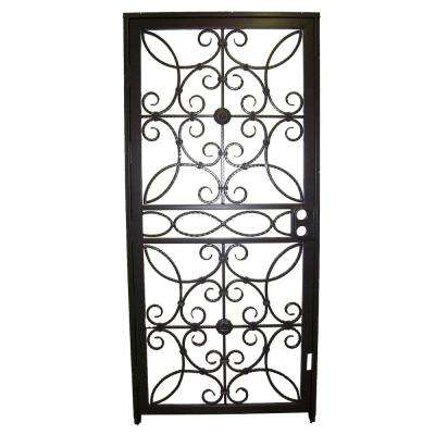 36 in. x 80 in. 467 Series Black Prehung Universal Hinging Outswing Wrought Iron Security Door with Double Bore Lockbox