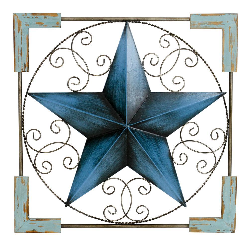 Aspire Home Accents Sorana Metal Blue Star Wall Decor 5131