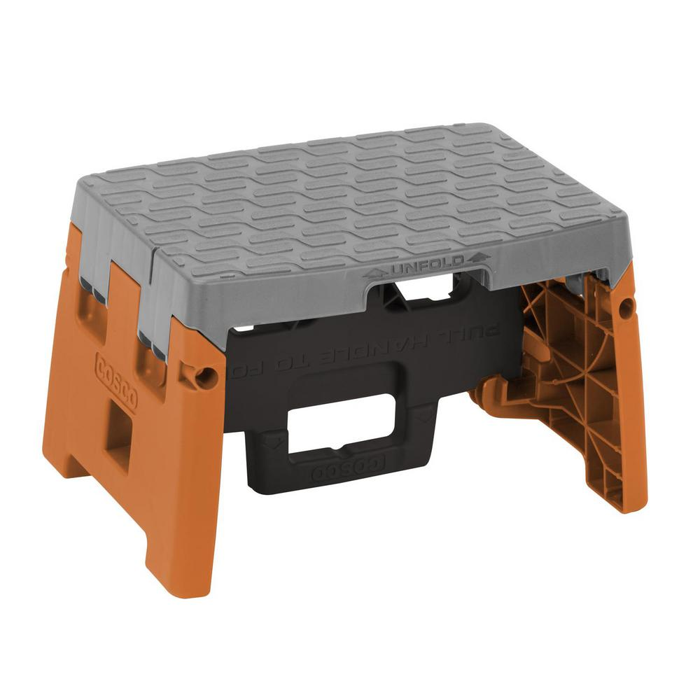 Cosco 1-Step Resin Molded Folding Step Stool Type 1A in Orange Black and  sc 1 st  The Home Depot & Cosco 1-Step Resin Molded Folding Step Stool Type 1A in Orange ... islam-shia.org