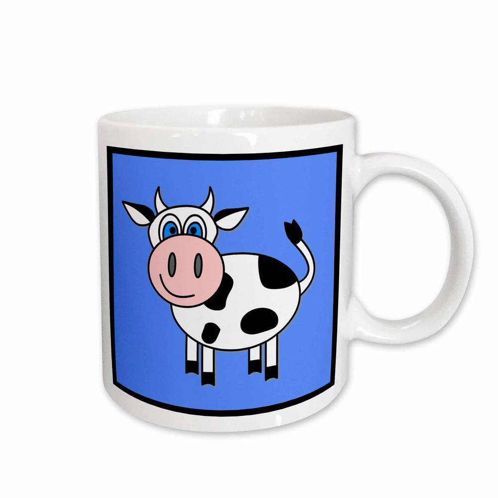 Janna Salak Designs Farm Animals 11 oz. White Ceramic Happy Cow Boy Mug