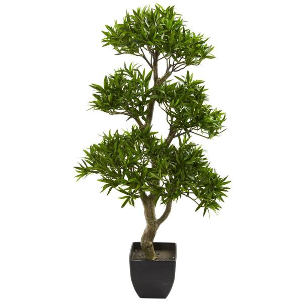 Indoor 37 in. Bonsai Styled Podocarpus Artificial Tree