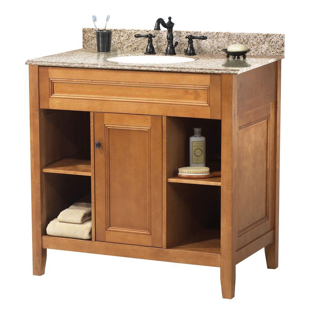 Home Decorators Collection Exhibit 31 in. W x 22 in. D Bath Vanity in Rich Cinnamon with Granite Vanity Top in Golden Hill (4-piece)