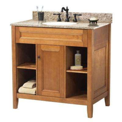 Exhibit 31 in. W x 22 in. D Bath Vanity in Rich Cinnamon with Granite Vanity Top in Golden Hill (4-piece)