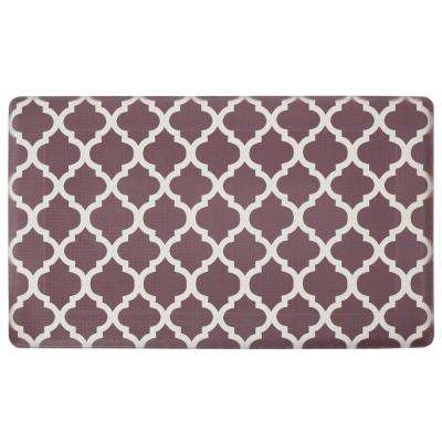 Quatrefoil Chocolate/Linen 24 in. x 36 in. PVC Anti-Fatigue Kitchen Mat