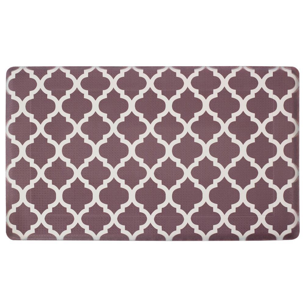 Quatrefoil Chocolate/Linen 24 in. x 36 in. PVC Anti-Fatigue Kitchen Mat