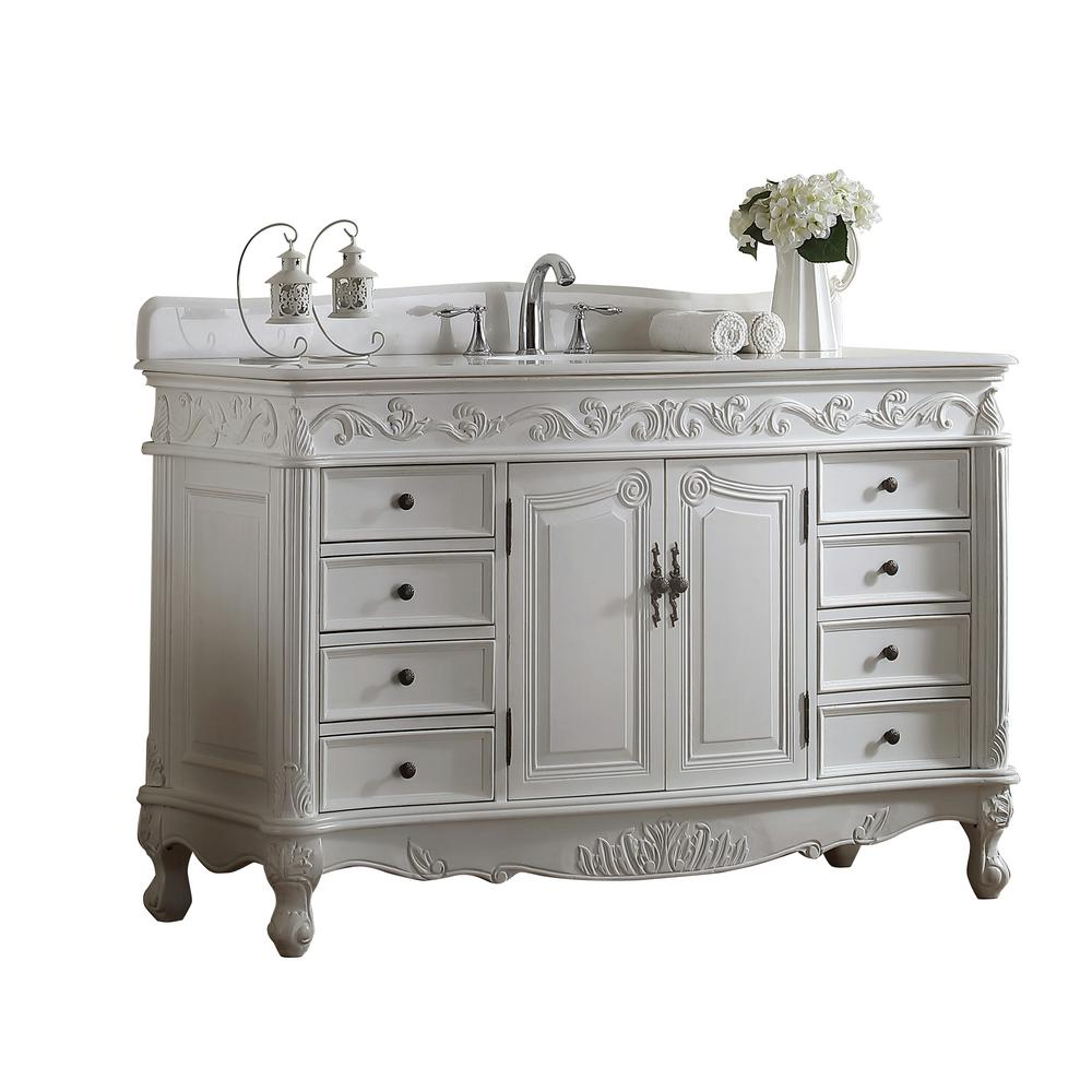 Modetti Buckingham 56 in. W x 22 in. D Vanity in White with Crystal Marble Vanity Top in White with White Basin