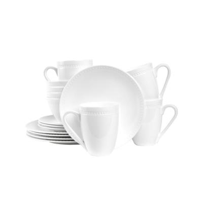 32-Piece Casual White Bone China Dinnerware Set (Set for 8)