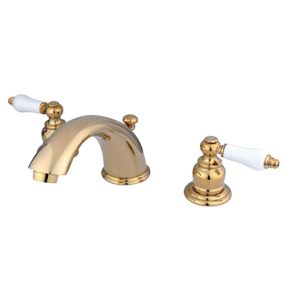 Kingston Brass Magellan 8 in. Widespread 2-Handle Bathroom Faucet in Polished Brass