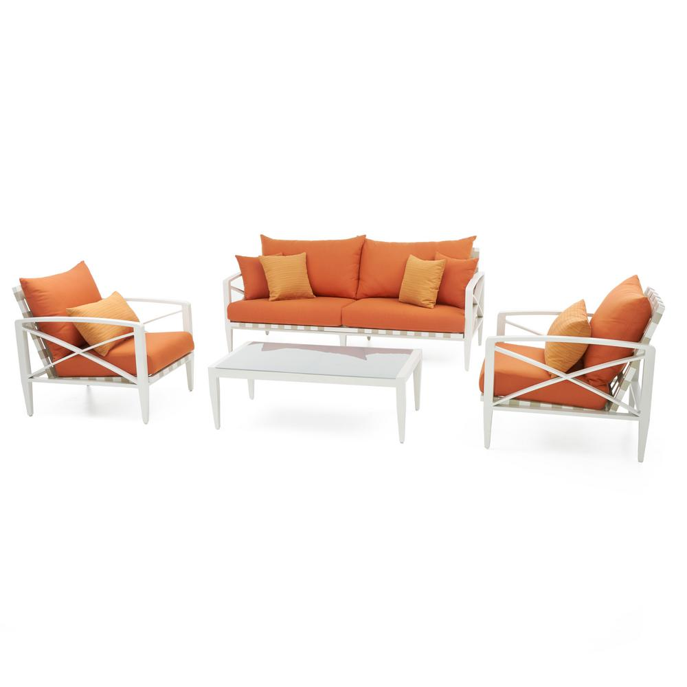 Knoxville Cream 4-Piece Aluminum Patio Seating Set with Tikka Orange Cushions