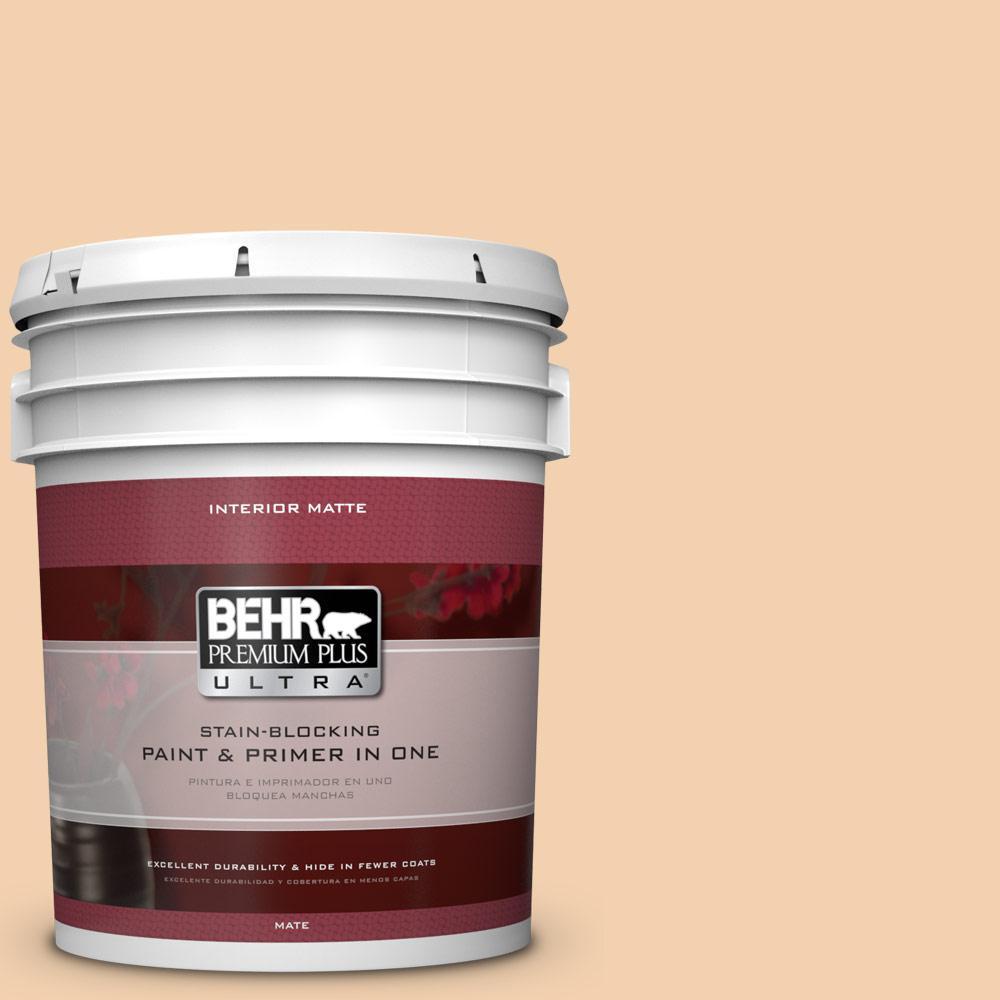 BEHR Premium Plus Ultra 5 gal. #PPL-42 Warm Apricot Flat/Matte Interior Paint