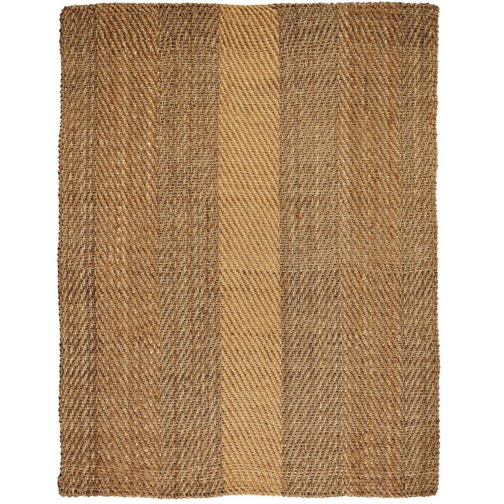 Anji Mountain Sahara Brown and Tan Striped 9 ft. x 12 ft. Jute Area Rug