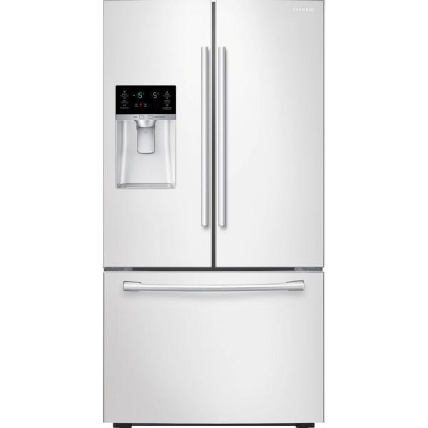 Samsung RF28HFEDBWW - Refrigerator/freezer - freestanding - width: 35.7 in - depth: 36 in - height: 70 in - 28.1 cu. ft - french style with ice & water dispenser - white