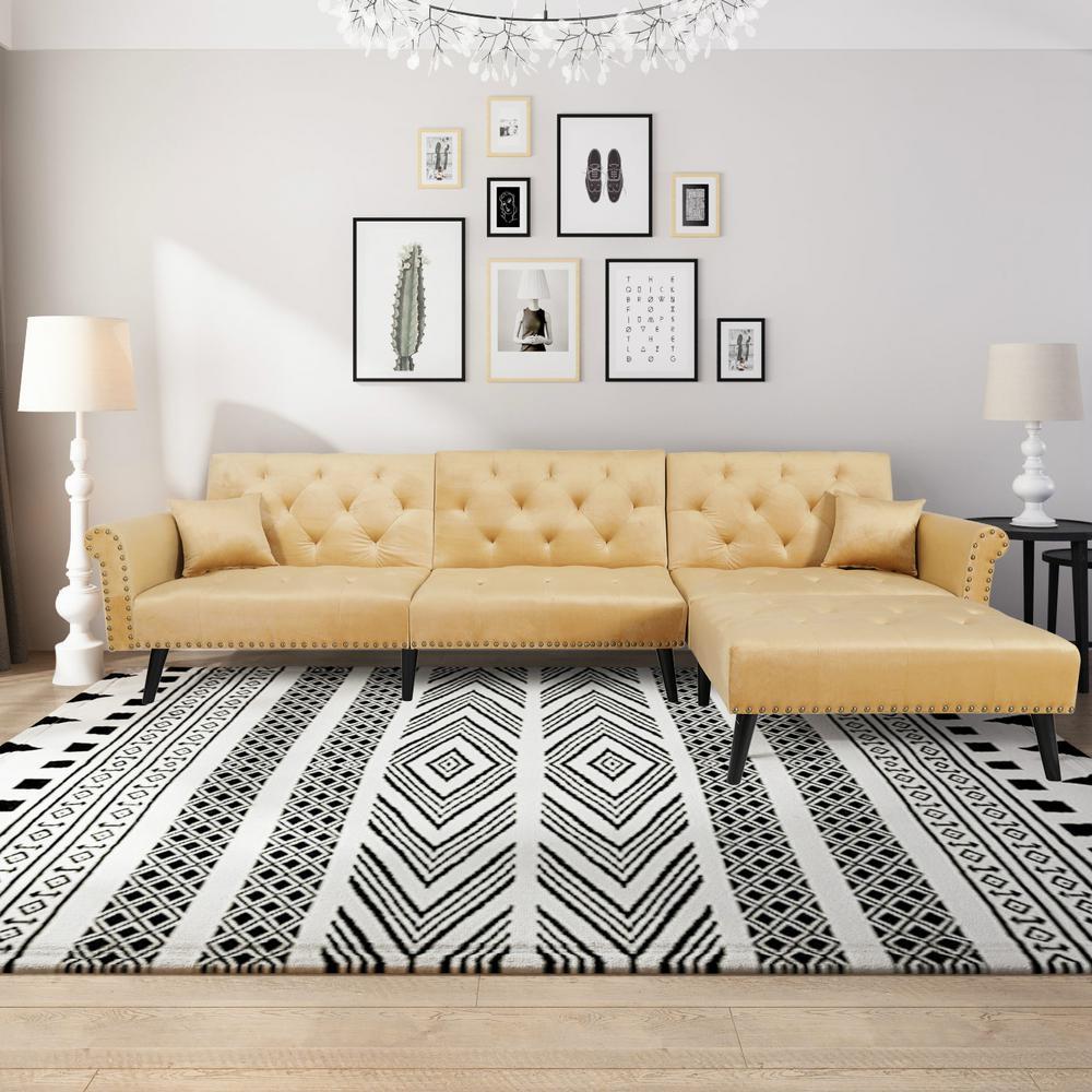 Glorious Yellow L-Shape Reversiable Futon Sectional Sofa Sleeper