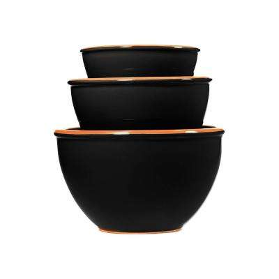 3-Piece Terracotta Black Mixing Bowl Set