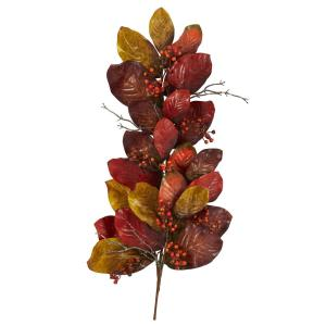 36 in. Autumn Magnolia Leaf with Berries Artificial Tear Drop