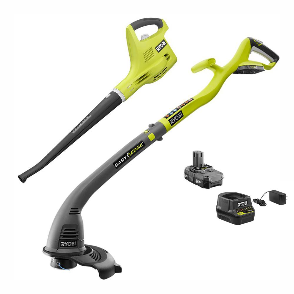 RYOBI ONE+ 18-Volt Lithium-Ion Cordless Trimmer/Edger and Blower/Sweeper Combo Kit - 1.3 Ah Battery and Charger Included