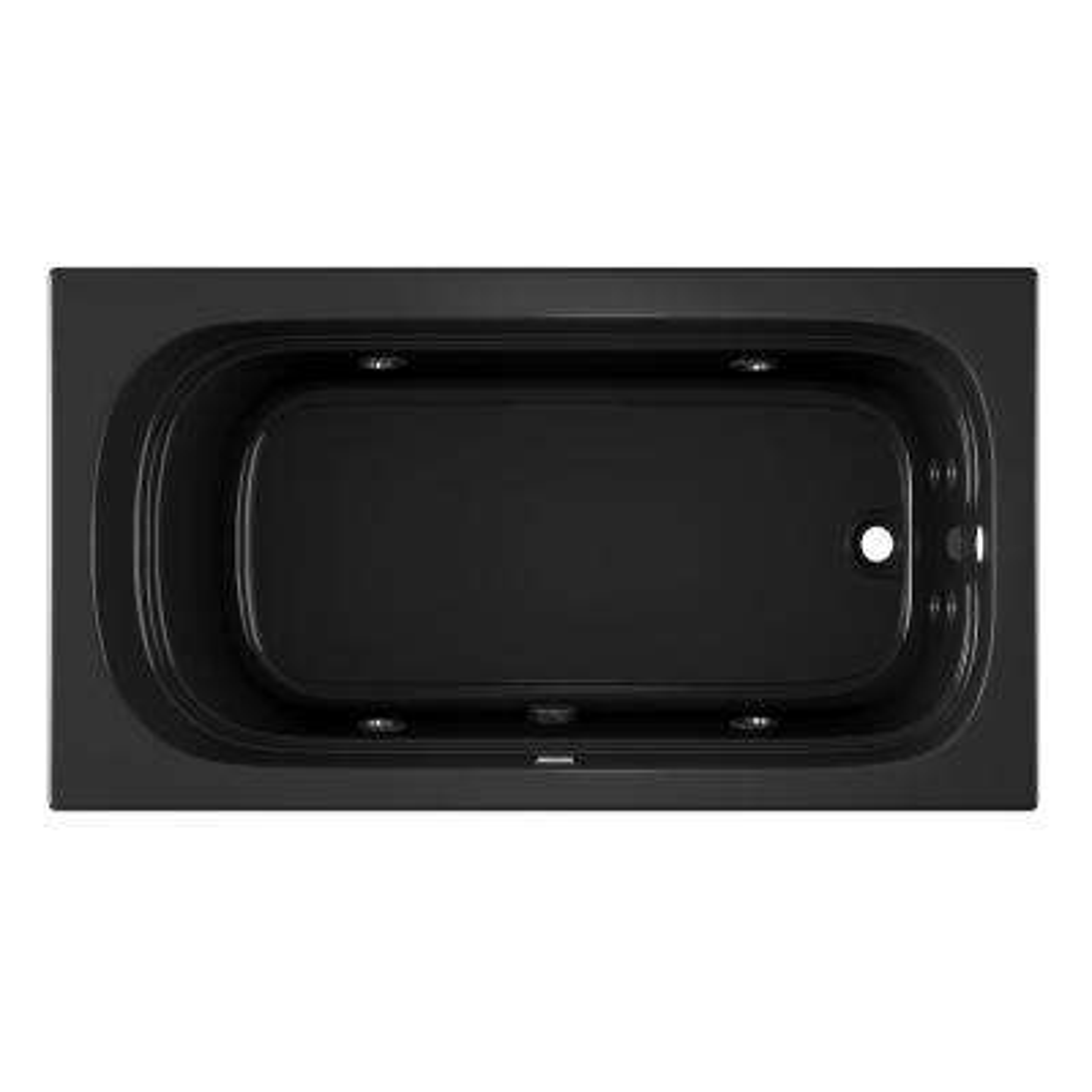 LUXURA 66 in. Rectangular Drop-in Whirlpool Bathtub in Black