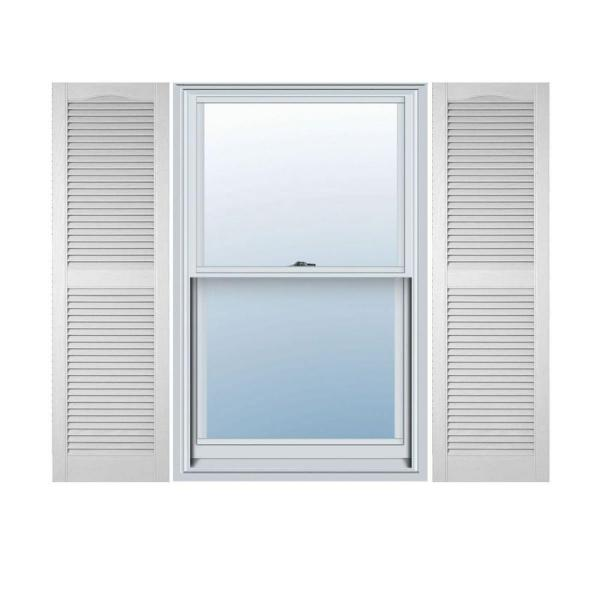 Ekena Millwork 14 1 2 In X 31 In Lifetime Vinyl Standard Cathedral Top Center Mullion Open Louvered Shutters Pair White Ll1s14x03100wh The Home Depot
