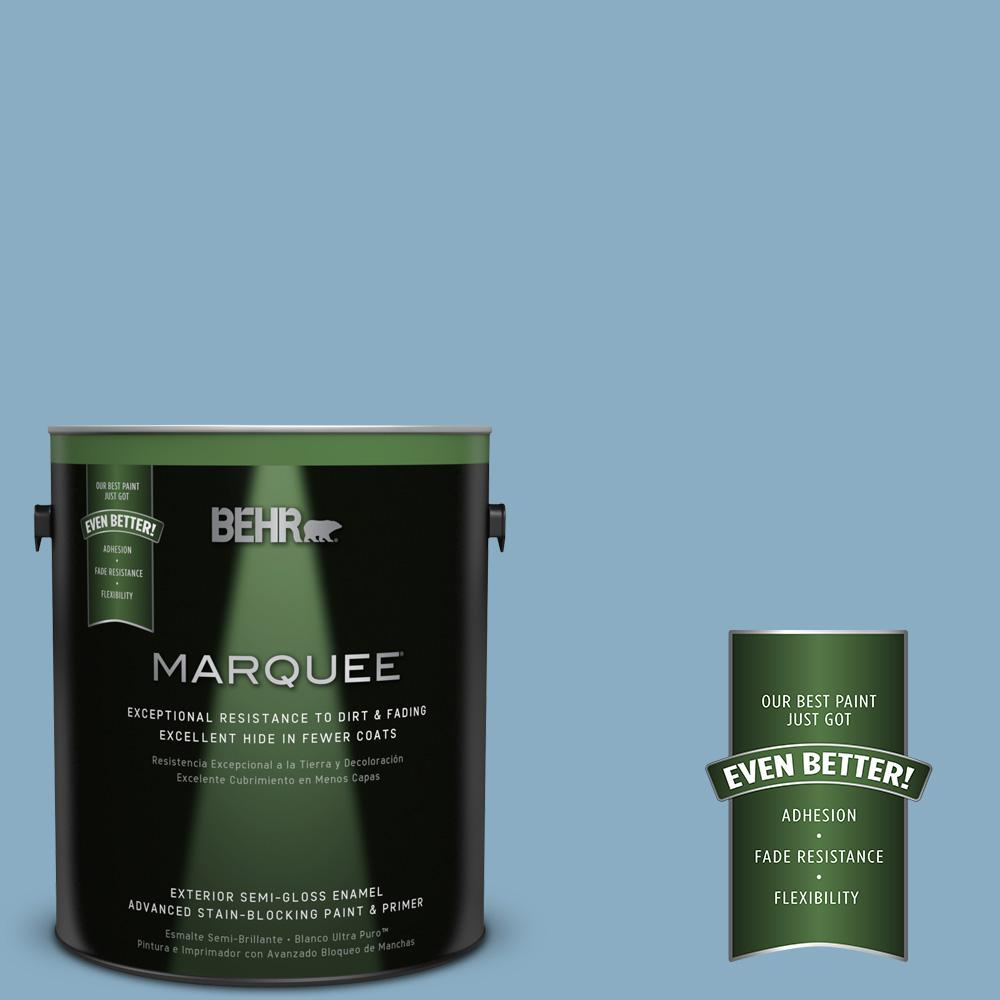BEHR MARQUEE 1-gal. #S500-4 Chilly Blue Semi-Gloss Enamel Exterior Paint