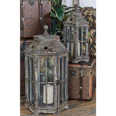 Brown Hexagonal Windowpane Candle Lanterns (Set of 2)