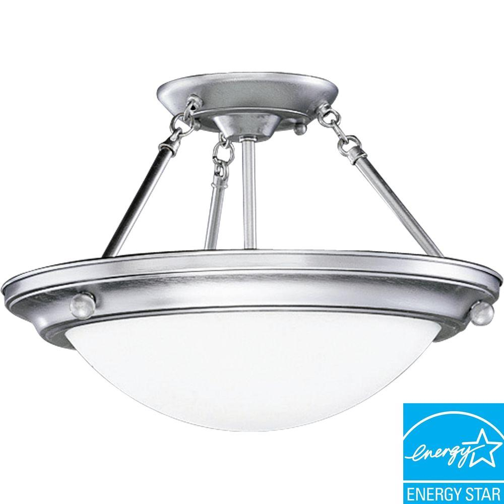 Progress Lighting Eclipse Collection Brushed Steel 2-light Semi-flushmount-DISCONTINUED