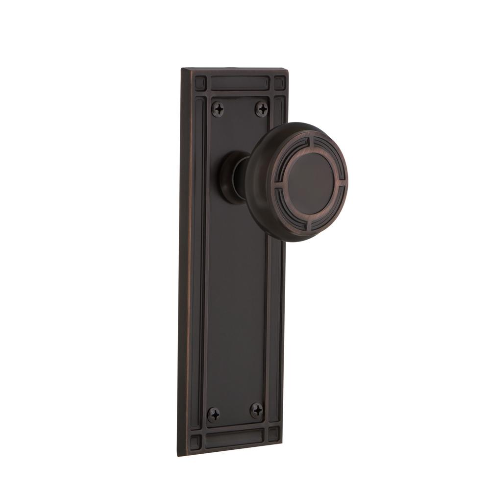 Mission Plate Single Dummy Mission Door Knob in Timeless Bronze