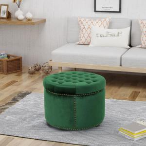 Incredible Noble House Tiernan Glam Round Tufted Emerald Velvet Ottoman Evergreenethics Interior Chair Design Evergreenethicsorg