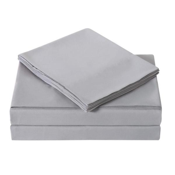 Truly Soft Grey 3-Piece Solid 180 Thread Count Microfiber Twin Sheet Set