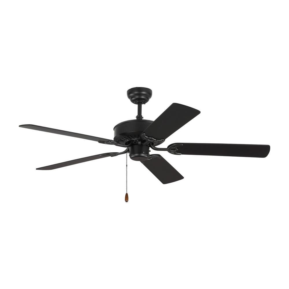 Haven 52 in. Matte Black Ceiling Fan with Matte Black Blades