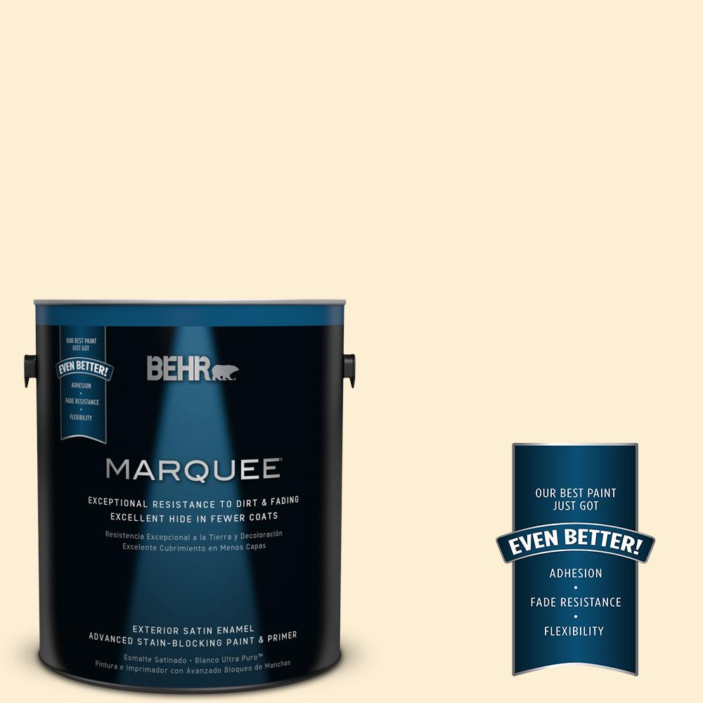 BEHR MARQUEE 1-gal. #YL-W3 Honied White Satin Enamel Exterior Paint
