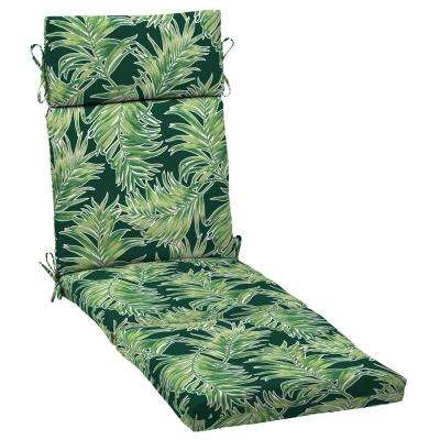 21 in. x 42.5 in. Emerald Quintana Tropical Outdoor Chaise Lounge Cushion