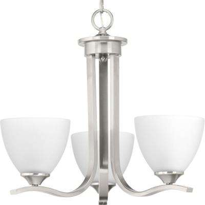Laird Collection 3-Light Brushed Nickel Chandelier with Shade