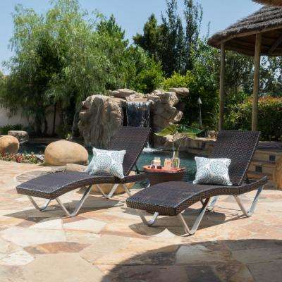 San Marco Multi-Brown 3-Piece Wicker Outdoor Chaise Lounge