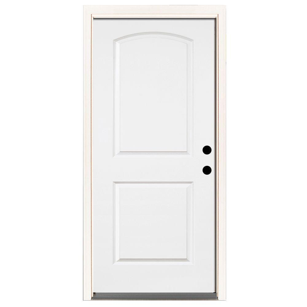 Steves & Sons 32 in. x 80 in. Premium 2-Panel Roundtop Left-Hand Inswing Primed White Steel Prehung Front Door with 6-9/16 in. frame