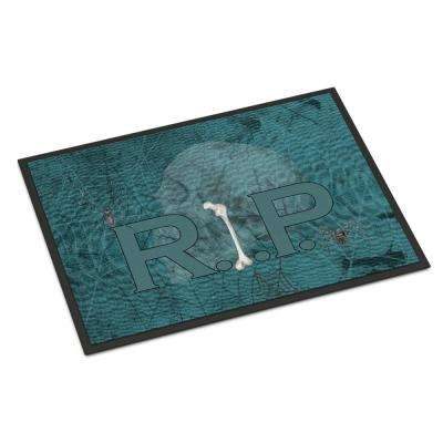 18 in. x 27 in. Indoor/Outdoor RIP Rest in Peace with Spider Web Halloween Door Mat