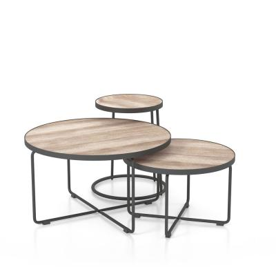 Jarnelle 3-Piece 32 in. Powder Coat/Natural Tone Medium Round Wood Coffee Table Set with Nesting Tables