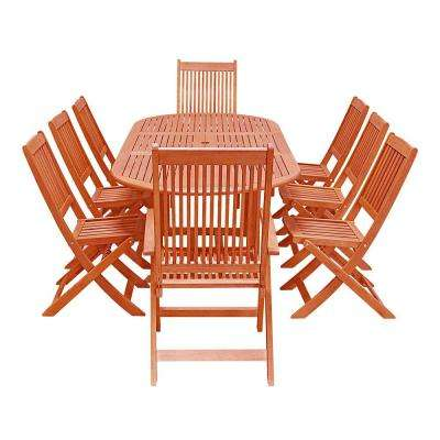 Malibu Wood 9-Piece Outdoor Dining Set with Extension Table and Folding Chairs