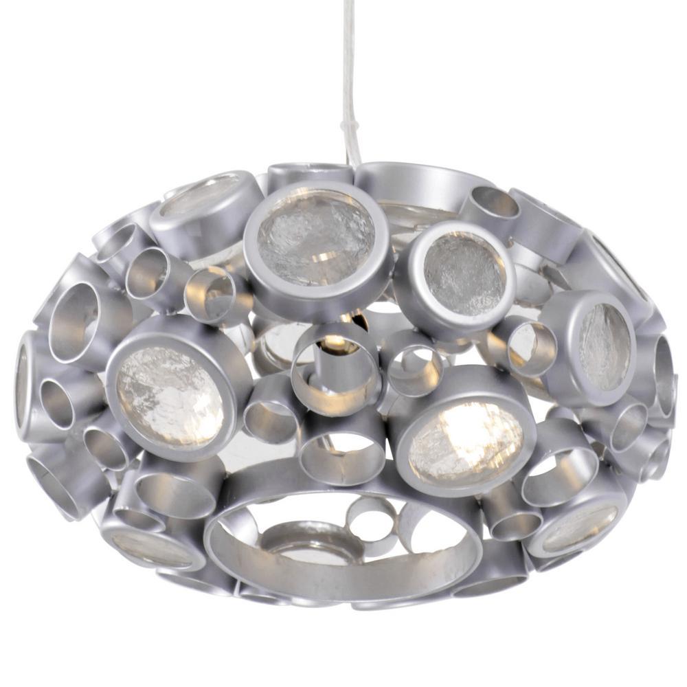 Fascination 3-Light Metallic Silver Donut Mini Pendant