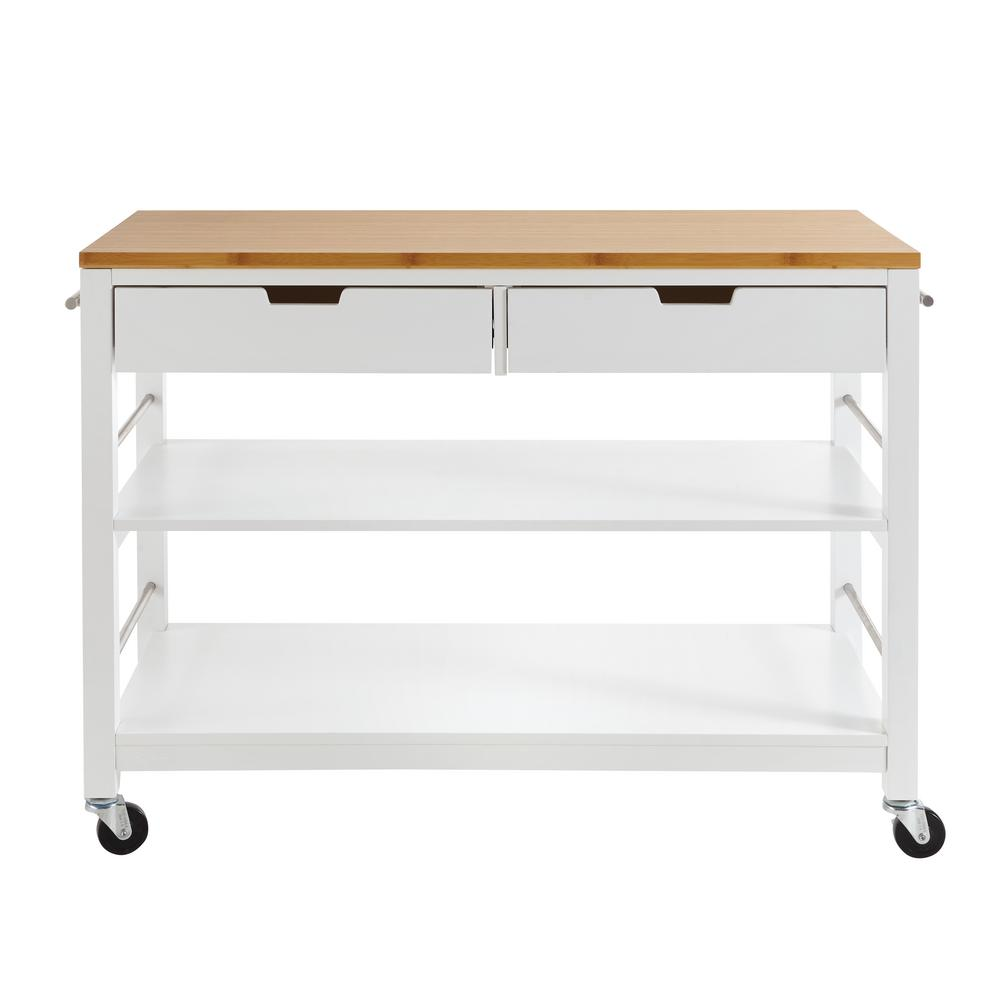 48 kitchen island kitchen counter trinity 48 in white bamboo kitchen island with drawers drawerstbflwh1407