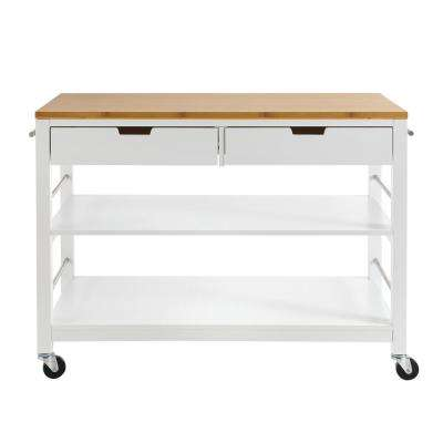 48 in. White Bamboo Kitchen Island with Drawers