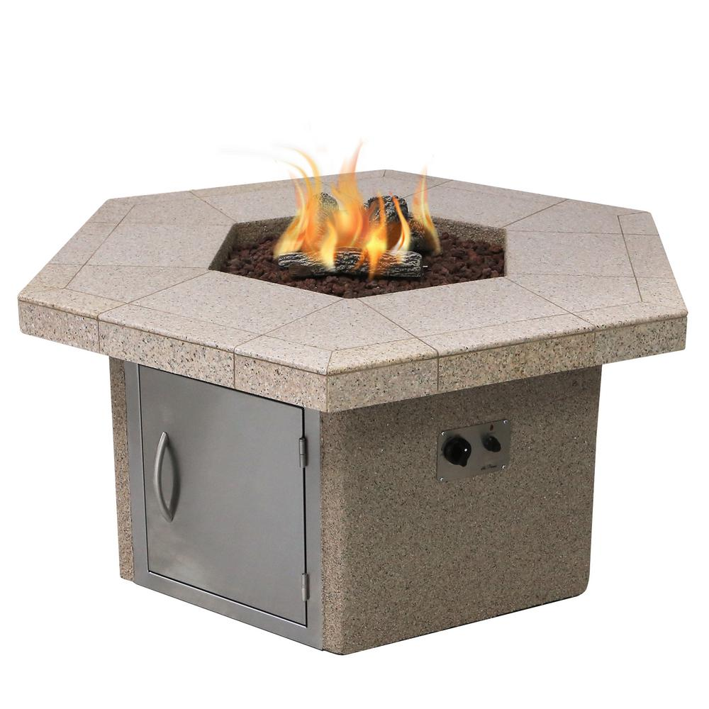 Cal Flame Stucco and Tile Dining Height Square Gas Fire Pit with Log Set and Lava Rocks