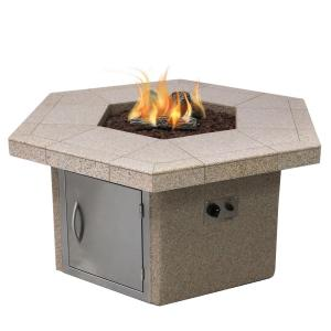 Stucco and Tile Dining Height Square Gas Fire Pit with Log Set and Lava Rocks