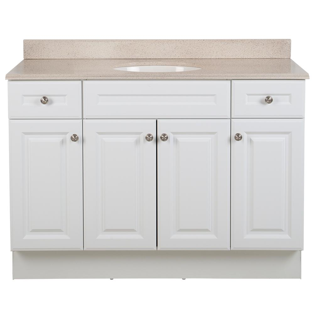 Glacier Bay Glensford 49 in. W x 22 in. D Bathroom Vanity in White with Colorpoint Vanity Top in Maui with White Sink